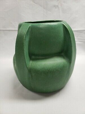Arts and Crafts Large Pottery Vase Beautiful Green Mission Prairie Style