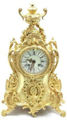 Antique Mantle Clock Stunning French 1880's Embossed 8 day Gilt Rococo Bronze