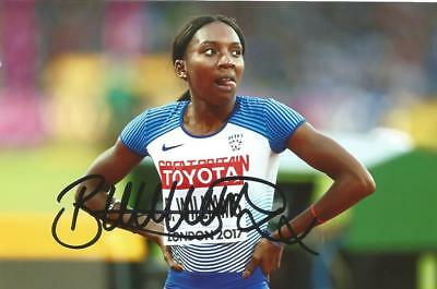 ATHLETICS: BIANCA WILLIAMS SIGNED 6x4 LONDON 2017 ACTION PHOTO+COA *TEAM GB*