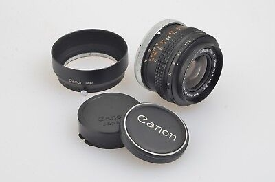 EXC++ CANON FL 35mm f3.5 WIDE ANGLE LENS, CAPS, HOOD, VERY NICE!