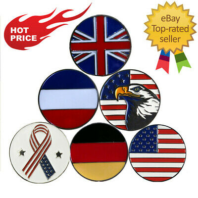 Golf Ball Markers with Hat Clip 1 Pc Magnetic Cap Clips Player UK Flag Type Pack