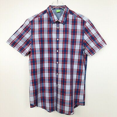 5051266e Hugo Boss Men Shirt Green Label Bastiano Short Sleeve Blue Red Plaid Button  Down