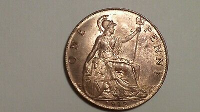 1912 Penny. UNC. 90% Lustre. Sharp Strike. George V.1911-1936.British Milled1913