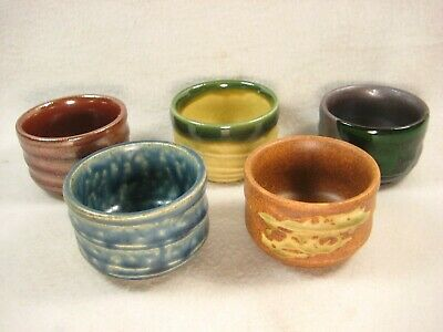 Vintage Japanese Group Of Five (5) Ceramic Sakazuki Sake Cups