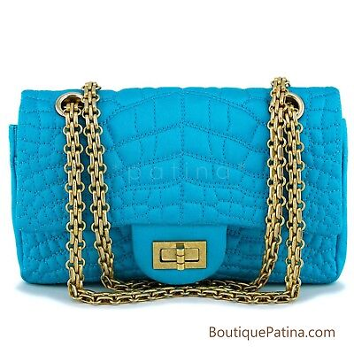 Chanel Turquoise Blue Small/Mini 224 Classic 2.55 Reissue Flap Bag GHW 63155
