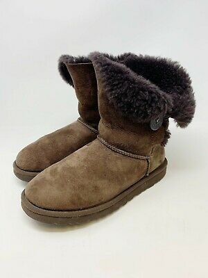 fe762045049 UGG WOMEN'S BAILEY Button Chocolate Brown Suede boots 5803 New With ...