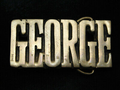RD01103 VINTAGE 1970s CUT-OUT NAME **GEORGE* SOLID BRASS BARON BELT BUCKLE