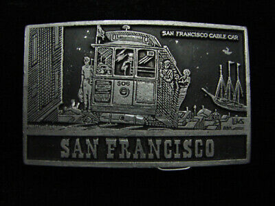QJ15157 *NOS* VINTAGE 1970s *SAN FRANCISCO CABLE CAR* COMMEMORATIVE BELT BUCKLE