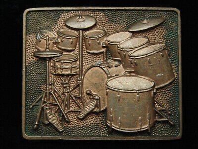 Pg03151 Vintage 1980 **Drum Set** Music Commemorative Solid Brass Baron Buckle