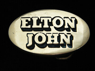 Qe03174 Vintage 1978 **Elton John** Music Commemorative Solid Brass Baron Buckle