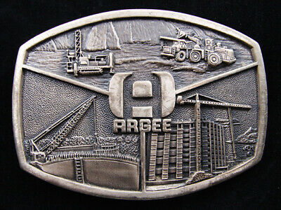RE07141 VINTAGE 1980s **ARGEE** HEAVY MACHINERY SOLID BRASS BELT BUCKLE