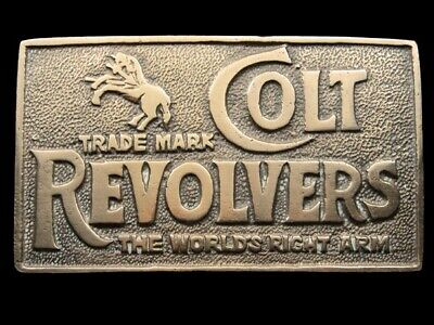 RI01164 VINTAGE 1970s **COLT REVOLVERS** GUN & FIREARM SOLID BRASS BELT BUCKLE