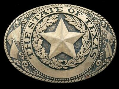 RI01173 VINTAGE 1980s **STATE OF TEXAS** COMMEMORATIVE SOLID BRASS BELT BUCKLE