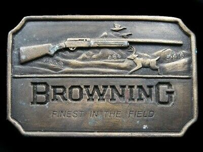RJ15135 VINTAGE 1970s **BROWNING FINEST IN THE FIELD** GUN & FIREARM BELT BUCKLE