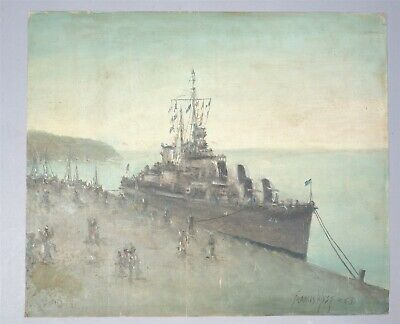 Vintage Francis West Destroyer At Dockside Large Seascape Oil Painting On Canvas
