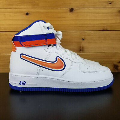 hot sale online dc234 2b813 Nike Air Force 1 High Sports NY Knicks White Team Orange AV3938 100 Men s  Shoes