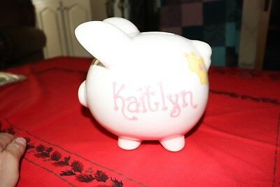 Hand-Painted KAITLYN Personalized Large Ceramic Custom Bank Piggy bank