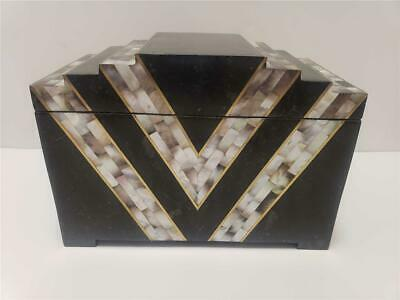 vintage MAITLAND SMITH Art Deco style TESSELLATED MARBLE Abalone Shell Brass Box