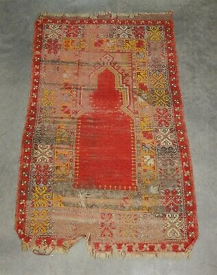 Antique Turkish Anatolian Niche Prayer Rug Seccade for Restoration 58 x 34.5""