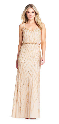 81de922ad80 ADRIANNA PAPELL Champagne Gold BLOUSON BEADED BRIDESMAID DRESS SZ 10 NWT  PROM