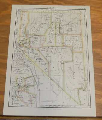 1885 Antique COLOR Map///NEVADA, UNITED STATES