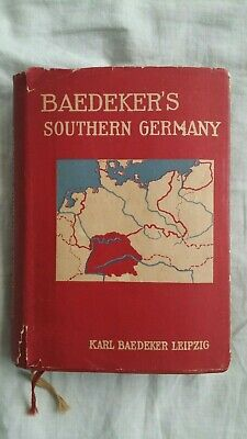 1929 BAEDEKER'S Southern Germany Antique TRAVEL Guide MAPS With Dust Jacket