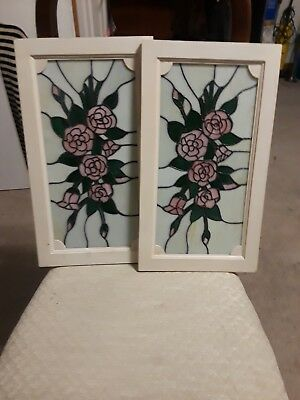 """Vtg 3 Leaded Stain Glass Wall Hanging Window Panel Pink Rose Floral 10""""1/2 X 18"""""""