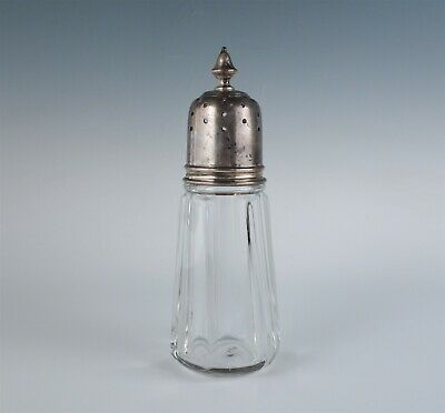 Antique 19c Sterling Silver Top Paneled EAPG Glass Muffineer Sugar Shaker Caster