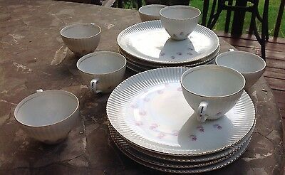 Vintage Luncheon Snack Plates And Cups Roses With Gold Rim Trim Made In Japan