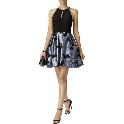 bdd826d1 Xscape Womens Black Floral Print Halter Party Semi-Formal Dress 10 BHFO 1589