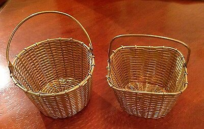 Two Solid Brass Wire Baskets Round And Square Small Made In India