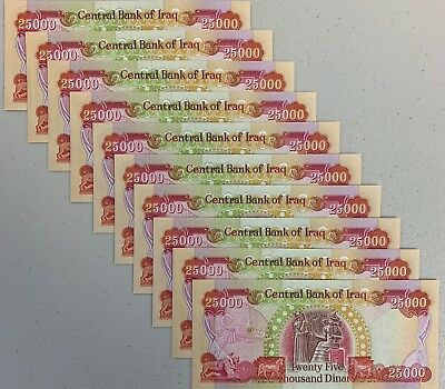 250,000 IRAQI DINAR - IQD (10 Notes) CRISP & UNCIRCULATED - ACTIVE & AUTHENTIC