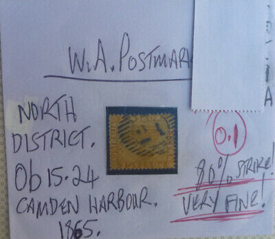 Old West Australia Postmark On Swan Stamp Camden Harbour 1865