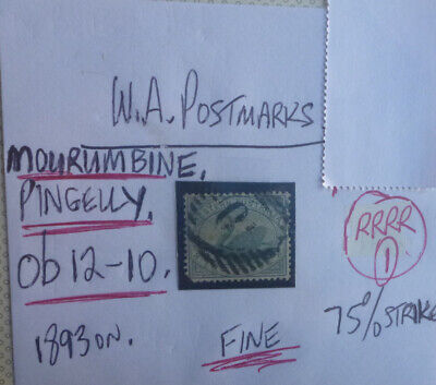 Old West Australia Postmark On Swan Stamp Mourumbine, Pingelly