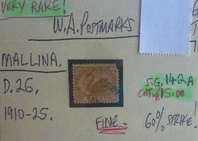 Old West Australia Postmark On Swan Stamp Mallinga 1910-25