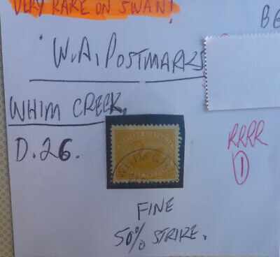Old West Australia Postmark On Swan Stamp Whim Creek