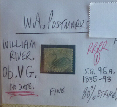 OLD WEST AUSTRALIA POSTMARK ON SWAN STAMP WILLIAM RIVER 2d