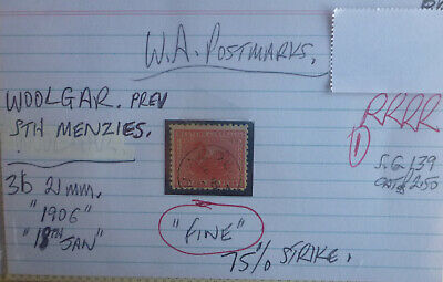 Old West Australia Postmark On Swan Stamp Woolgar 1906