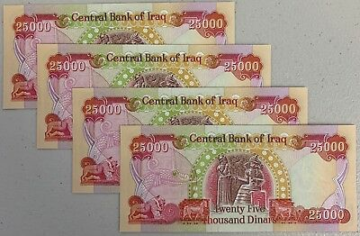 1/10 MILLION IRAQI DINAR - (4 - 25,000 Notes) UNCIRCULATED - ACTIVE & AUTHENTIC