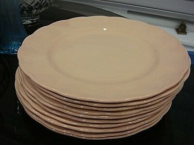 Set of 8 Grindley Peach Petal Dinner Plates