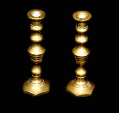 Vintage pair of solid brass miniature candlesticks