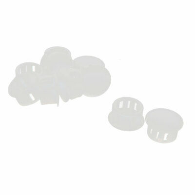 10 Pcs SKT-16 16mm Dia Round White Snap in Mount Lock Hole Cover Harness