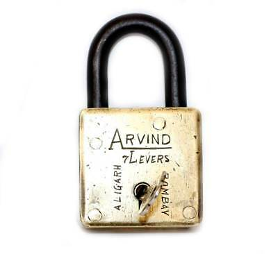 Very rare & collectible Arvind 7 lever brass padlock from the early 20th century