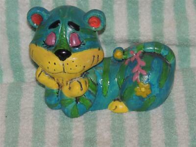 Vintage 1966 Psychedelic Holiday Fair Tiger Coin Bank Flower Power Hippy
