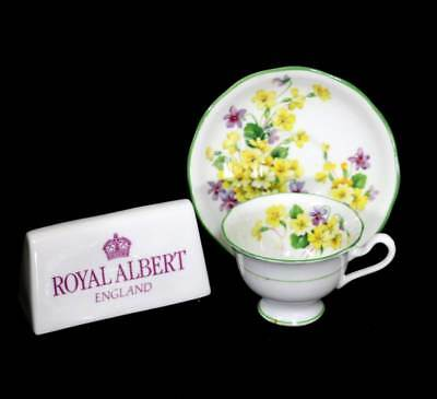 Vintage Royal Albert 1945 Primulette demitasse coffee cup & saucer duo