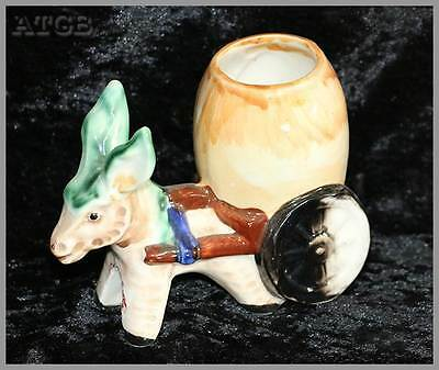 Vintage pair of pottery ceramic mid century 1950s donkey and cart vases