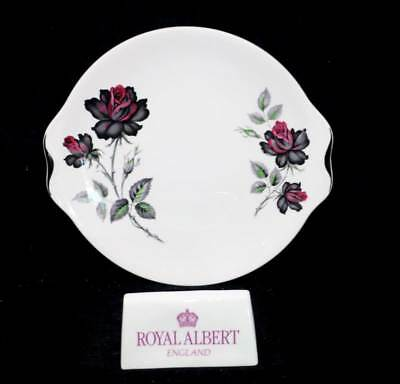 Vintage Royal Albert Masquerade black roses two handled cake plate