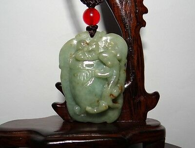 "1.8"" China Certify Grade A Nature Hisui Jadeite Jade Pixiu and Persimmon Pendant"