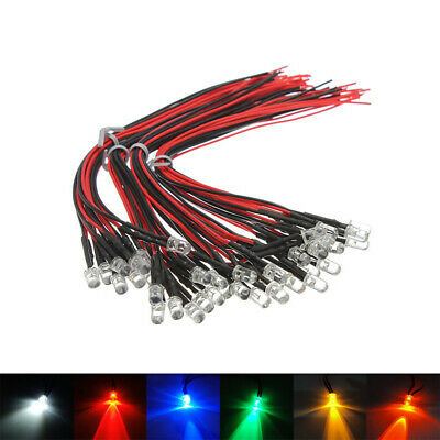 5pcs Pre-Wired 8mm Straw Hat LEDs Bulb 3V 6 9V~220V  White Green Blue Red Yellow