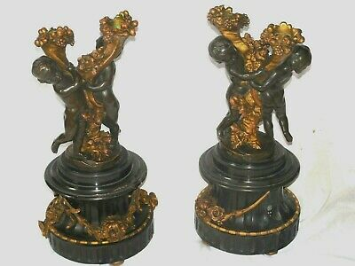 Pr Of Antique French Susse Freres Paris Bronze Cherubs Candle Holders,Oudry